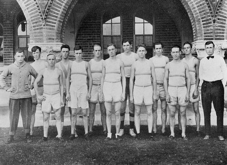 The men's track team was organized in 1914.